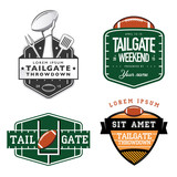 Set of American football tailgate party design elements