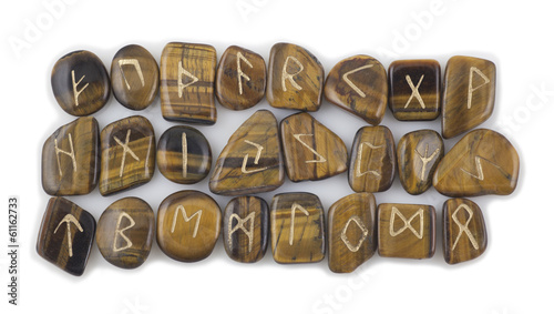 Full Set of Rune Stones carved in Tiger's Eye