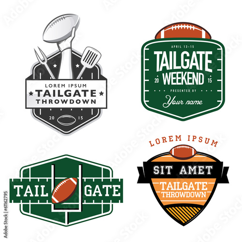 Set of American football tailgate party design elements - 61162795