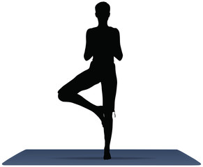 vector illustration of Yoga positions in Tree Pose