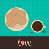 Biscuit cookie cracker on the plate and cup of coffee with coffe
