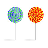 Colorful striped lollipops isolated on a white background