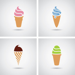 vector collection of isolated colorful ice cream icons