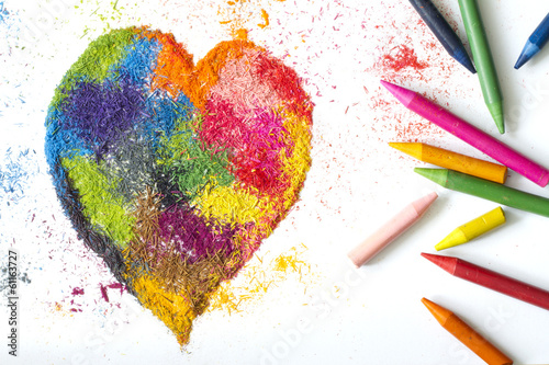 Crayon heart shape abstract handmade symbol
