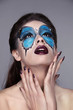 Makeup. Manicured nails. Fashion face art portrait. Beautiful mo