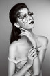 Makeup. Fashion face art portrait. Black and white photo. Female