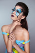 Makeup. Face art portrait. Manicured nails. Fashion female model
