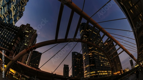 Timelapse : Beautiful cityscape bangkok city at twilight.