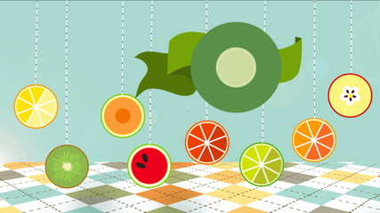Organic food labels and elements animated.