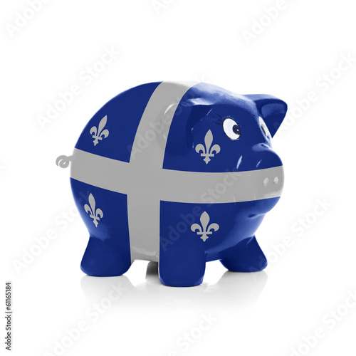 Piggy bank with flag coating over it - Quebec Flag
