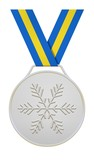 Silver medal with blue yellow ribbon