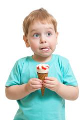 Funny boy eating icecream isolated on white