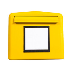 german postbox, yellow, isolated on white