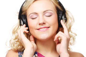 Cute young woman with headphones