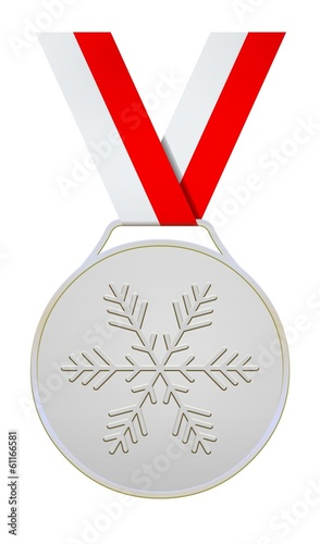 Silver medal with white and red ribbon