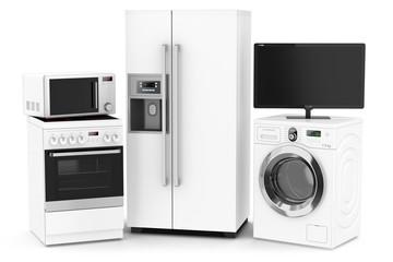 Set of household technics isolated on white background