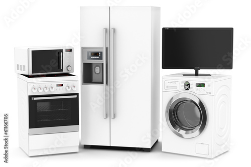 Set of household technics isolated on white background
