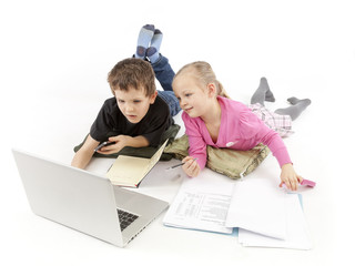 Child Boss and his child Secretary watching the Laptop