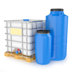 Group of plastic water tanks isolated on white background