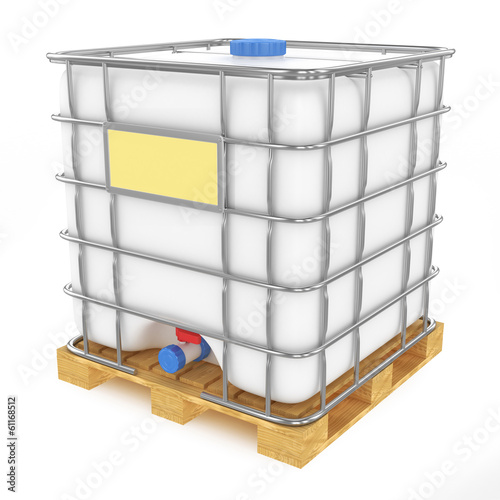 Plastic water tank isolated on white background