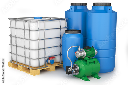 Group of plastic water tanks and pumping station