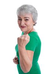 Frauenpower: Ältere Frau geht in Rente - isoliert auf Grün