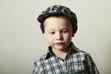 Child.Fashionable Little Boy in Cap.Fashion Children.plaid shirt
