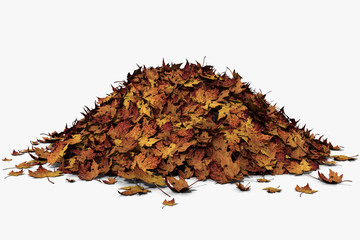 3d illustration of a leaf pile