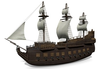 3d illustration of a medieval ship