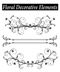 Set Floral decorative element with swirls