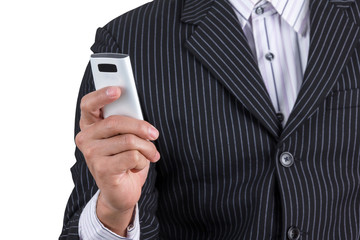 Businessman read the massage on phone