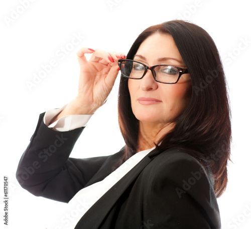 glasses on a woman's face