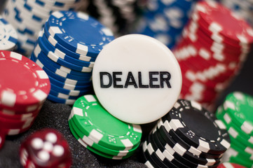 Casino chips and Dealer on top