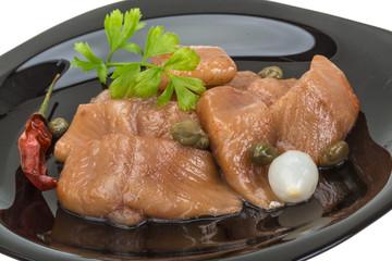 Sliced marinated herring