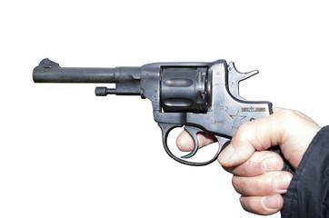 Pistol Nagant revolver in hand gangste