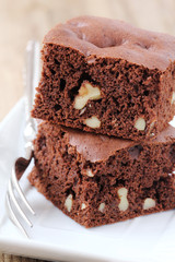 Freshly baked homemade walnut chocolate brownies
