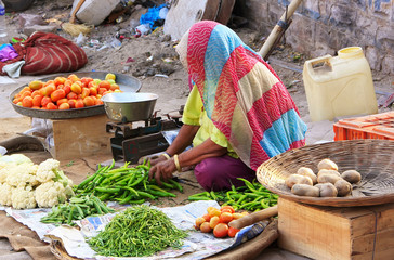 Indian woman selling vegetables, Sadar Market, Jodhpur, India