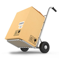 Delivery package on a cart isolated on white background