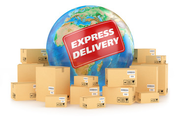 Express delivery worldwide. Concept