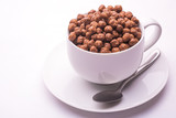 bowl with chocolate flakes balls isolated