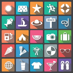 Summer icon set flat