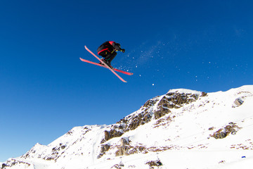 Skier doing big air