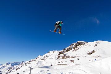Snowboarder in snowpark