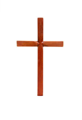 Isolated Wooden Cross on White Background