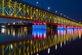 Illuminated bridge and city