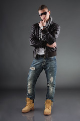 Attractive Young Man Wearing Leather Jacket