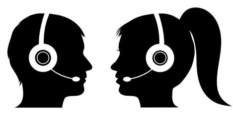 Male and female operator in call center