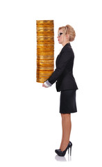 woman holding stack coins