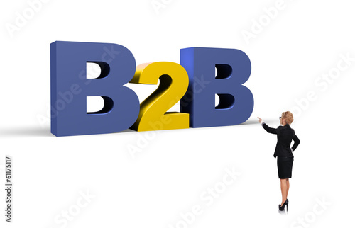 businesswoman pointing to b2b