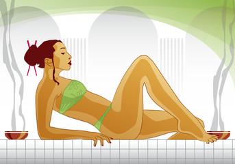 Woman enjoys Spa